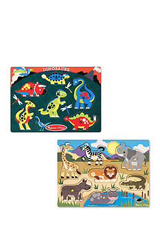 Melissa & Doug Peg Puzzle Bundle- Safari and Dinosaurs