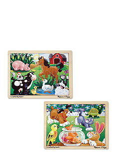 Melissa & Doug 12-piece Jigsaw Bundle- Farm & Pets
