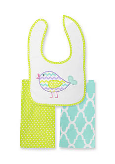 Nursery Rhyme 3-Piece Bird Bib and Burp Cloths Set