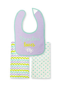 Nursery Rhyme 3-Piece Grandma Loves Me Bib and Burp Cloths Set