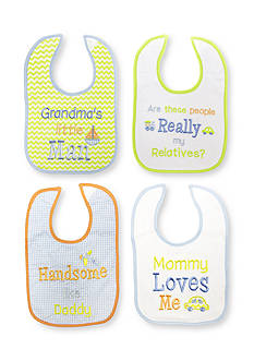 Nursery Rhyme 4-Pack Embroidered Message Bib Set