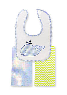 Nursery Rhyme 3-Piece Whale Bib and Burp Cloths Set