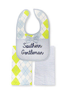 Nursery Rhyme 3-Piece Southern Gentleman Bib and Burp Cloths Set