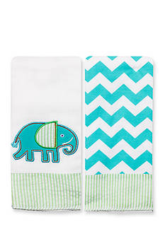 Nursery Rhyme 2-Pack Elephant-and-Chevron Burp Cloths Set