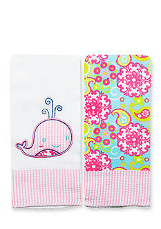 Nursery Rhyme 2-Pack Whale-and-Paisley Burp Cloths Set