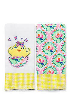 Nursery Rhyme 2-Pack Chick-and-Floral Burp Cloths Set