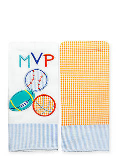 Nursery Rhyme 2-Pack Sports-and-Plaid Burp Cloths Set