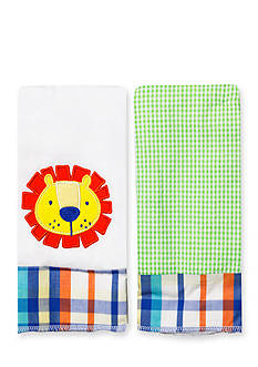 Nursery Rhyme 2-Pack Lion-and-Plaid Burp Cloths Set