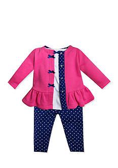 Nursery Rhyme 3-Piece Ruffle Cardigan, Knit Shirt, and Polka Dot Leggings Set