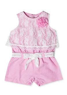 Nursery Rhyme Pink Lace Romper