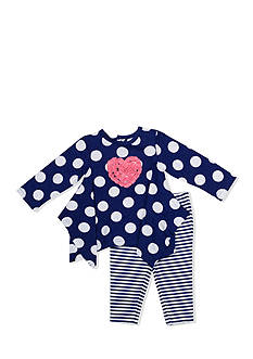 Nursery Rhyme 2-Piece Heart Shirt and Striped Leggings Set