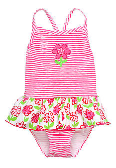 Sweet Potatoes Pink Posie Ruffle 1-piece Swimsuit Toddler Girls