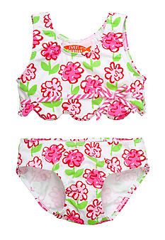 Sweet Potatoes Pink Posie Scallop 2-Piece Swimsuit Toddler Girls