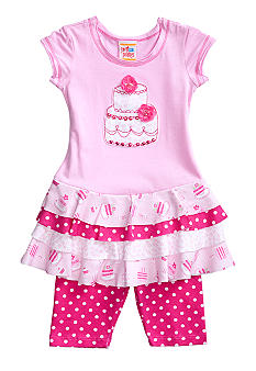 Sweet Potatoes Tiered Dot Pedal Pusher Set Toddler Girls