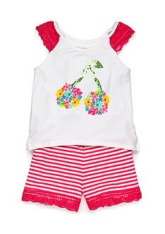 Flapdoodles 2-Piece Crochet Cherry Top and Stripe Short Set Toddler Girls
