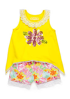 Flapdoodles 2-Piece Sharkbite Flower Top and Floral Shorts Set Toddler Girls