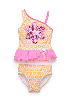 Flapdoodles 2-Piece Daisy Geo Tankini Toddler Girls