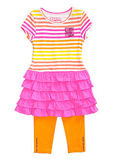 Flapdoodles Ombre T-Shirt Stripe Dress Set Toddler Girls