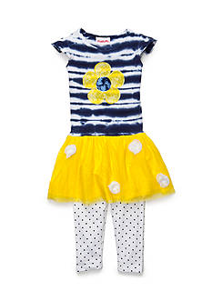 Flapdoodles 2-Piece Striped Tie Dye Mesh Dress Set Toddler Girls