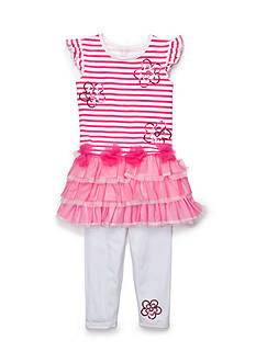 Flapdoodles 2-Piece Flower Striped Mesh Dress Set Toddler Girls