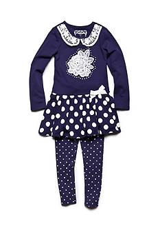 Flapdoodles Rose and Dot Dress Set Toddler Girls