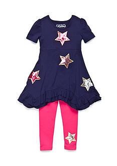 Flapdoodles Star Sparkle Dress Set Toddler Girls