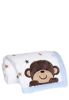 Carter's® Monkey Rockstar Embroidered Boa Blanket