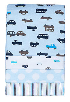 4-Pack Blue Cars Receiving Blanket Set