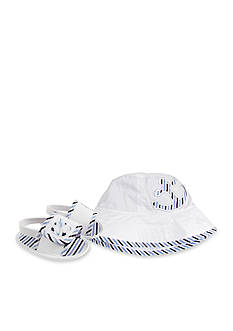 Nursery Rhyme® White Anchor Bucket Hat with Matching Sandal Gift Set