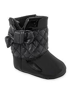 Nursery Rhyme® Black Patent with Quilted Shaft Hook & Loop Boot