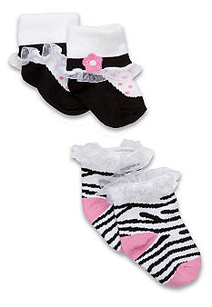 Nursery Rhyme Newborn Girl Zebra Sock Set