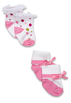 Nursery Rhyme Newborn Girl Pink Dot Sock Set