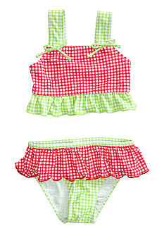 J Khaki Gingham 2 Piece Swimwear Toddler Girls