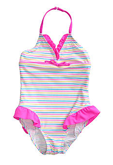 J Khaki Striped 1-Piece Swimsuit Toddler Girls