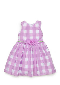 Marmellata Plaid Burn Out Organza Dress Toddler Girls