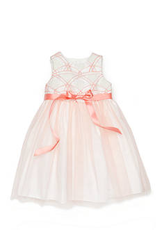 Marmellata Embroidered Flower to Tulle Overlay Dress Toddler Girls