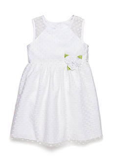 Marmellata Flocked Dot Flower Girl Dress Toddler Girls