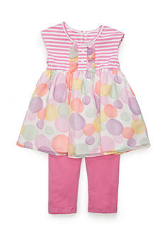 Marmellata 2-Piece Stripe to Polka Dot Tunic and Capri Set Toddler Girls