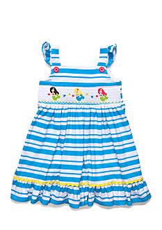Marmellata Mermaid Smocked Stripe Dress Toddler Girls