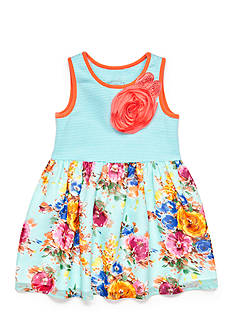 Marmellata Striped Knit to Floral Chiffon Dress Toddler Girls