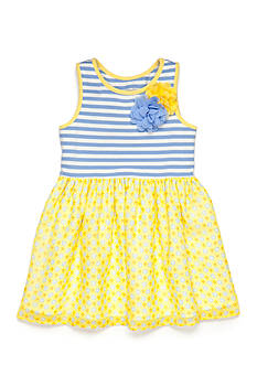 Marmellata Stripe Knit to Daisy Chiffon Dress Toddler Girls