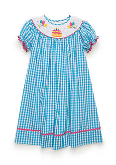 Marmellata Short Sleeve Gingham Birthday Smocked Dress Toddler Girls