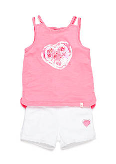 Lucky Brand 2-Piece Tie Dye Heart Tank Top and Short Set Toddler Girls