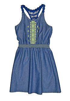 Lucky Brand Crochet Back Denim Dress Toddler Girls