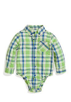 Nursery Rhyme Play™ Long Sleeve Plaid Button Down Bodysuit