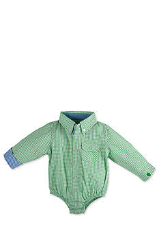 Beetle & Thread™ Green Checkered Long Sleeve Shirtzie with Blue Trim