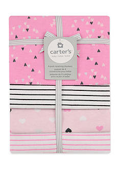 Carter's 4 Pack Flannel Heart Print Receiving Blankets