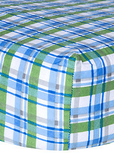 Trend Lab Flannel Fitted Crib Sheet - Blue Plaid