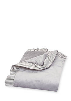 Trend Lab Dove Gray Receiving Blanket with Ruffle Stripe Trimmed