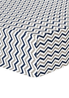 Trend Lab Navy and Gray Chevron Deluxe Flannel Fitted Crib Sheet